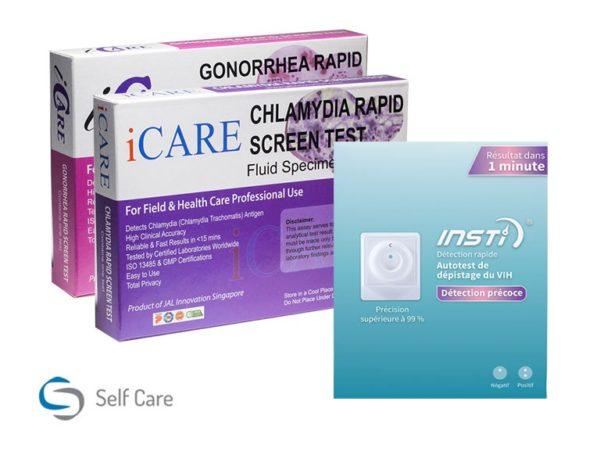 Pequeño paquete para pruebas de VIH y ETS.